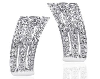 1.00 Carat Round Cut Carat Diamond Triple J-Hoop Earrings 14K White Gold