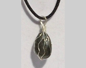 Labradorite Pendant, Handmade, Wire Wrapped Crystal (Silver Wire #3)