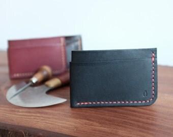 Portefeuille carte mince en cuir, artisanal Mens Leather Wallet minimaliste, porte cartes en cuir pour tous les jours porter, Initial personnalisé gratuit