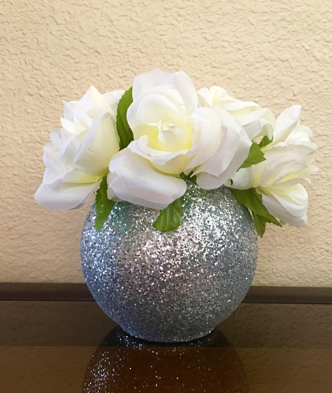Round glitter vase wedding centerpiece baptism by