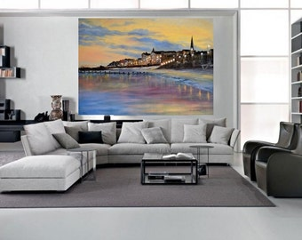 Art print or Art Canvas of Bridlington Seaside made from original painting by artist Sarmite Alksne. Wall art,sea side. Size 20x14 inches