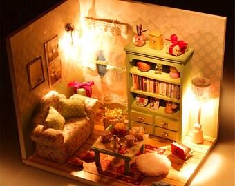 DIY Miniature Dream Dollhouse Cover Room LED Furniture