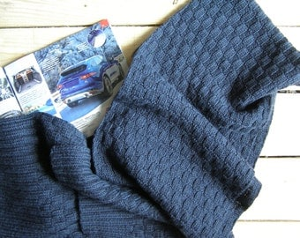 men's scarf, Hand knit Men's Scarf for him , man's dark blue scarf, hand knitted scarf, knitted scarf men, MADE TO ORDER