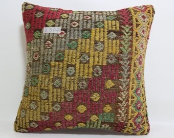 embroidered kilim pillow 16x16 Turkish rug pillow throw pillow  Turkish cushion cover boho pillow multicolor pillow kilim pillow SP4040-1304