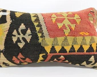 patterned design pillow 12x20 lumbar pillow bedding pillow kilim pillow multicolour pillow boho pillow cushion cover kelim kissen SP3050-480