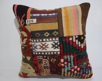kilim patchwork pillow cover 16x16 pathcwork kilim cushion cover vintage kilim pillow cover throw pillow flat woven cushion cover SP4040-739