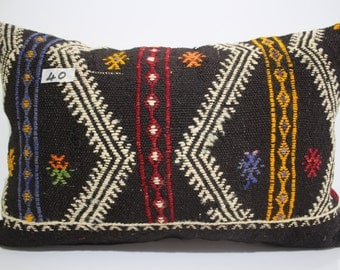embroidered kilim pillow 16x24 decorative coral kilim pillow 16x24 vintage kilim pillow cover 16x24 Turkish pillow cushion cover SP4060-40