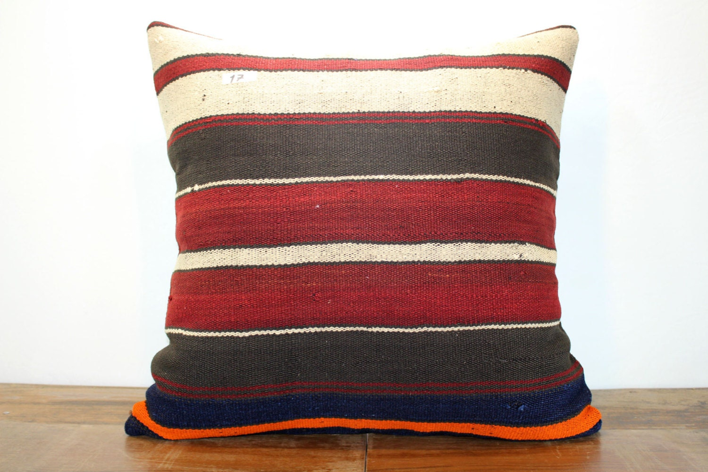 Throw Pillow Floor Cushion Case 28x28 Stripe Kilim Pillow