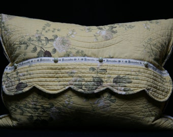 """Yellow Floral Quilted Envelope Pillow - Vintage Print, Ticking Stripe, Scallop Edge, Vintage Buttons , Remember Detail -21"""" x 14"""""""