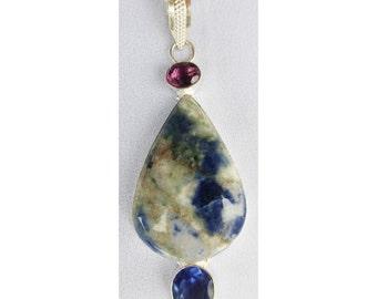 Teardrop Sodalite gemstone pendant in 925 sterling silver