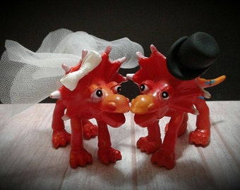 Dinosaur Bride And Groom Wedding Cake Topper  - Jurassic Park Wedding - A Touch of History
