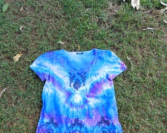 Baby Doll Top or Dress Tie Dye embroidered Sz 8