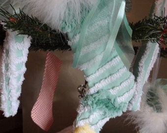 Vintage Chenille Christmas Stocking Ornament ~ REAL FUR