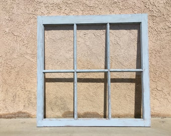 6- Pane Distressed Glass Window Frame- Hand Painted- Annie Sloan: Louis Blue