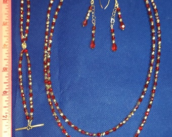 Hearts and bling Silver Red Jewelry Set