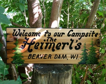 "Personalized Carved Wood Sign, Custom Campsite Sign, Welcome to our Campsite Sign with Pine trees,  approximately 9 1/2"" × 24 inches"