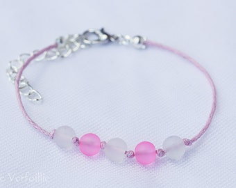 Bracelet adjustable wire waxed polyester, metal silver, pink and white frosted glass beads