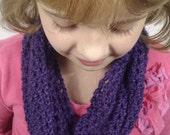 On Sale...Girl's, Crochet, Purple Infinity Scarf/Cowl/Circle Scarf