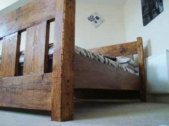Rustic Bed Oak Finishes Handmade Chunky Wooden Bed Reclaimed