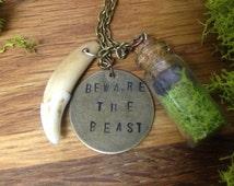 Over The Garden Wall, Beware The Beast Talisman w/Amethyst & Moss Vial Charm