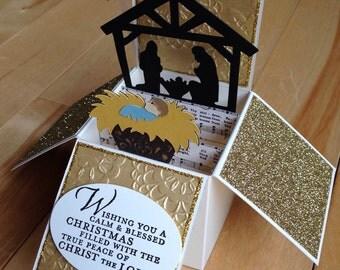Christmas pop up card, Nativity pop up Christmas card, Christmas card, Christian