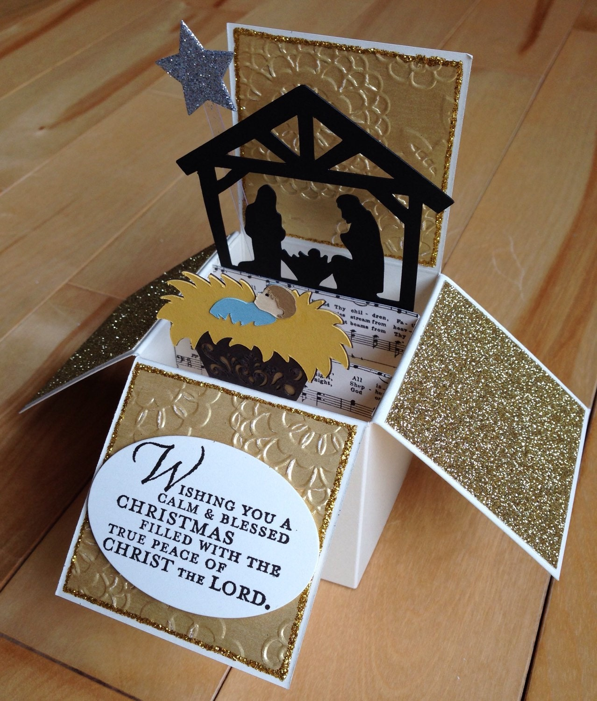 christmas pop up card nativity pop up christmas card