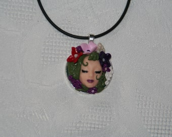 Spring goddess polymer clay pendant/Necklace/Handmade  OOAK
