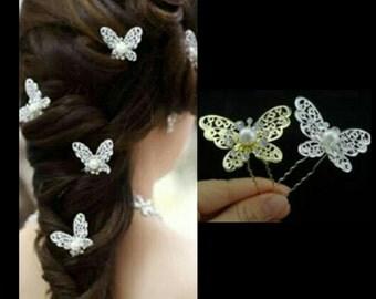 2 Pcs Silver Bridal Hairpins Gold Bridal Hair pins Gold Hair accessories Wedding Hair pins Gold Butterfly Hairpins Gold Butterfly Hair pins