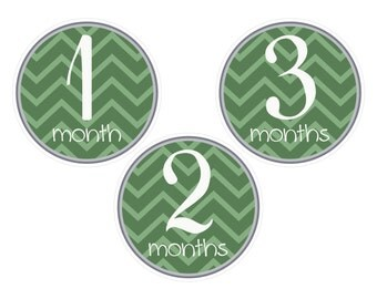Baby's First Year/Monthly Baby Signs/Baby Girl or Boy/Green Chevron/Instant Download