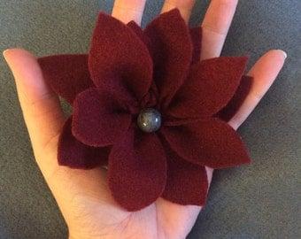 Handmade burgundy/ maroon felt flower