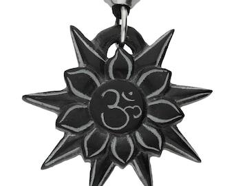 Hand Carved Om Symbol Jewel in Lotus on Black Stone Pendant ~ Spiritual Enlightenment