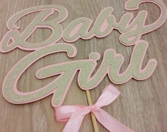 Baby Shower cake Topper, Girl Cake Topper, Pink and gold cake topper, baby shower, gender reveal, It's a girl, cake topper, Cake decoration