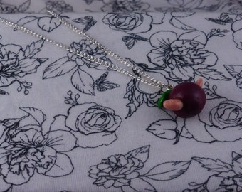 Polymer Clay Worm in an Apple Necklace