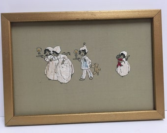 Embroidered Framed Wall Decor - 4 Children in Pajamas and Nightgowns