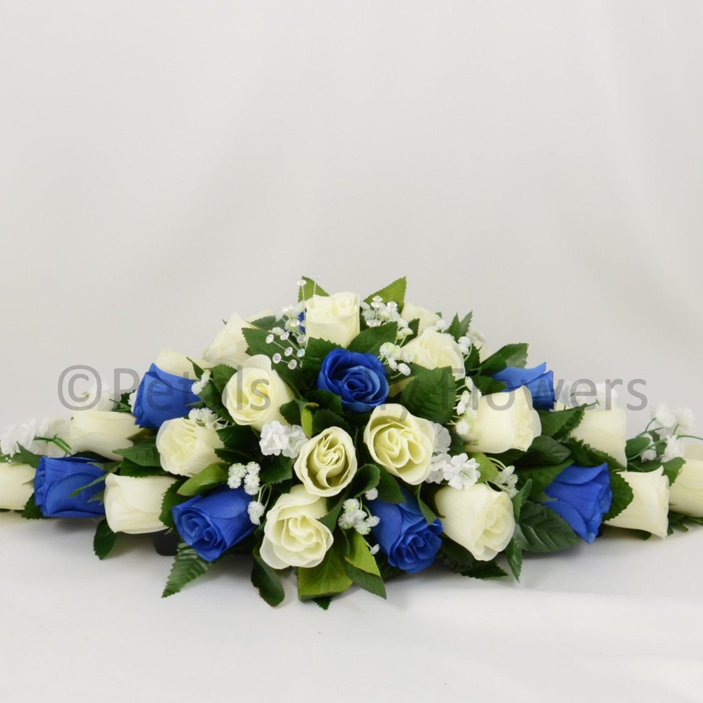 Silk Wedding Flowers Royal Blue Ivory Rose Top Table Decoration