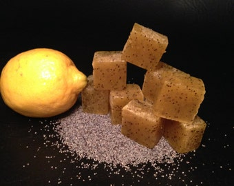 Lemon poppyseed sugar scrub cubes, sugar scrub