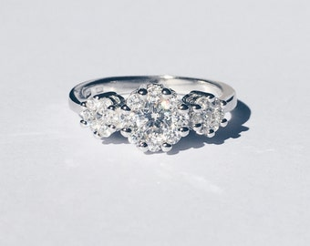 Sterling silver ring with CZ diamonds