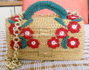 Natural raffia crochet bag with red flowers