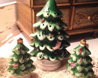 Vintage Christmas Tree Salt, Pepper, Toothpick Holder