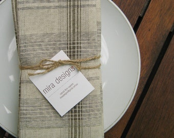 Linen Fabric Napkins - Hand made - Set of 6 - Dinner/Lunch Napkins