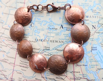 Canadian 1 cent curved coin bracelet - made of coins from Canada