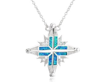 Large Sterling Silver and Blue Opal Expandable Cross with chain