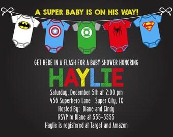 Super Hero Baby Shower Invitation Boy or Girl