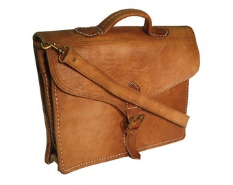 The Marrakech Handmade Moroccan Leather Satchel Laptop Bag Tan with Strap