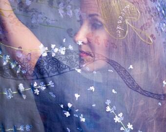 Lavenders and Lace Silk Shawl Blue Violet Purple Hand painted scarf Floral Silk Chiffon Wedding shawl Big wrap 35x80''