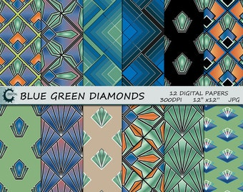 Blue and Green Diamonds - Digital Paper Collection 12x12