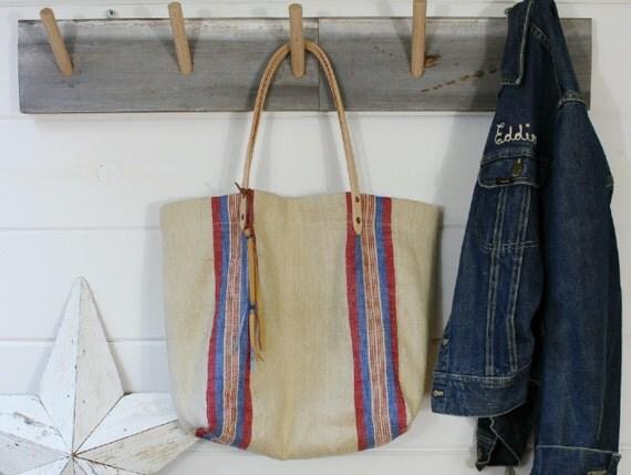 European Stripe Grain Sack Bag