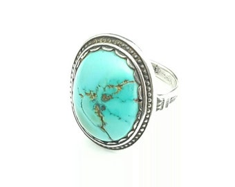 Vintage Native American Sterling Silver and Turquoise Ring- Size 7