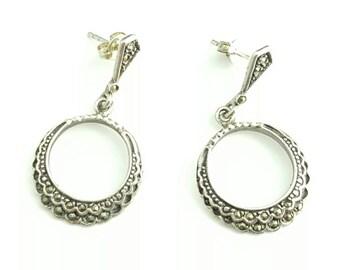 Vintage Sterling Silver Circular Marcasite Dangling Hoop Earrings