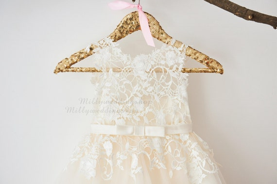 Ivory Lace Champagne Tulle Flower Girl Dress Wedding Bridesmaid Dress with Bow Belt M0049